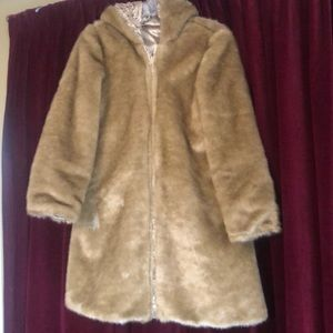 Girls faux fur/metallic gold reversible hood coat.